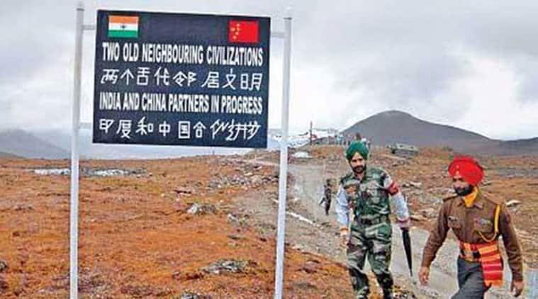 Army jawans patrol the India China border.