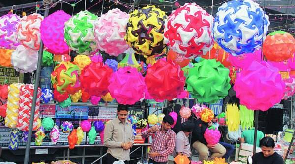 Chinese decorative material being sold at Ghumar Mandi. (Source: Express photo byGurmeet Singh)