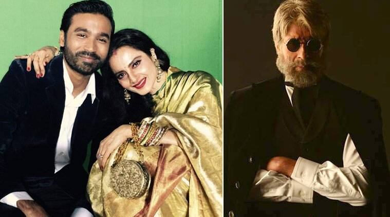 Tamil superstar Dhanush, who plays a deaf and mute man in 'Shamitabh', shared a picture of himself with Rekha.