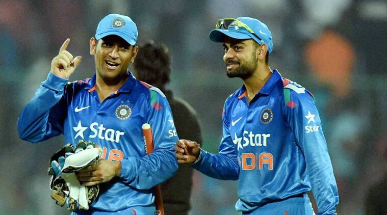 Dhoni also seemed a bit relieved that Virat Kohli atleast had some sort of form going his way. (Source: PTI)