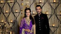 Dia Mirza glows in purple lehenga as she gets  engaged to Sahil Sangha