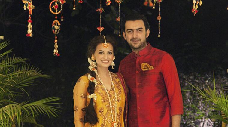 The image has a gorgeous looking Dia with her fiance Sahil posing for the photogs ahead of the mehendi ceremony.  (Source: Twitter)