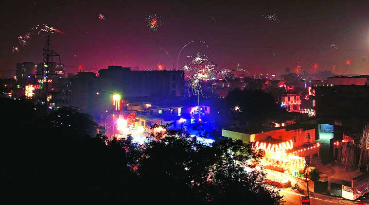 Diwali celebrations in Sector 68, Mohali, on Thursday. (Source: Express photo by Jasbir Malhi)