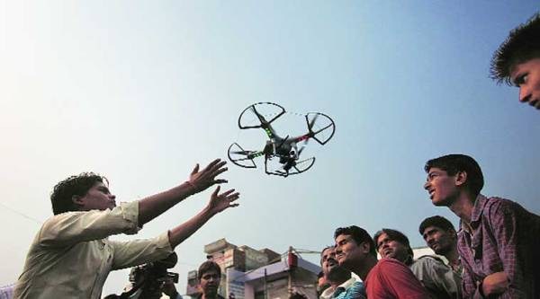 A police drone at work in Trilokpuri on Tuesday. (Express photo: Oinam Anand)
