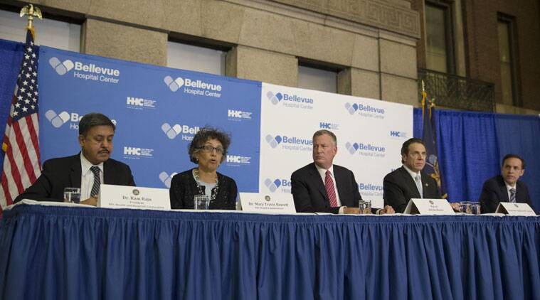 Dr. Mary Travis Basset, NYC Health Commissioner, second from left, speaks during a news conference at Bellevue Hospital to discuss Craig Spencer, a Doctors Without Borders physician who tested positive for the Ebola virus. (Source: AP)