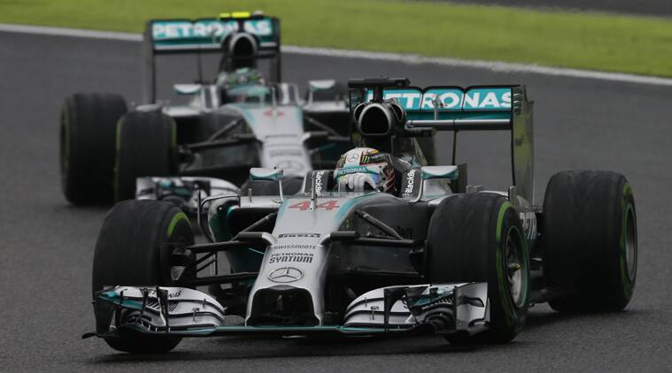 Hamilton again edged out Nico Rosberg in an eventful race at Suzuka. (Source: Reuters)