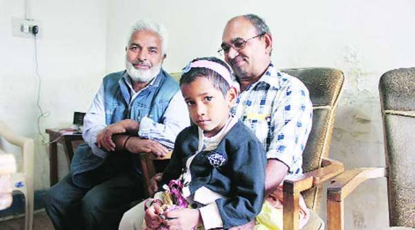 Megha after the reunion with her family in Srinagar on Wednesday.