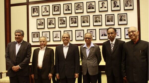 Others from the six member founding team including N R Narayana Murthy, K Dinesh, Nandan Nilekani, S D Shibulal and N S Raghavan were also present at the ceremony. (Source: Indian Express photo)