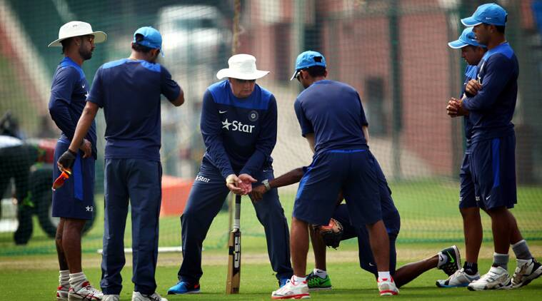 Duncan Fletcher with the Indian team during an optional practice session at the Feroz Shah Kotla on Thursday (Source: Express Photo by Oinam Anand)