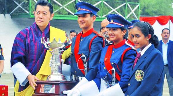 Bhutan king Jigme Khesar Namgyel Wangchuck gives awards to students during Founder's Day celebration of Lawrence School at Sanawar on Saturday. (Source: Express photo by Sahil Walia)