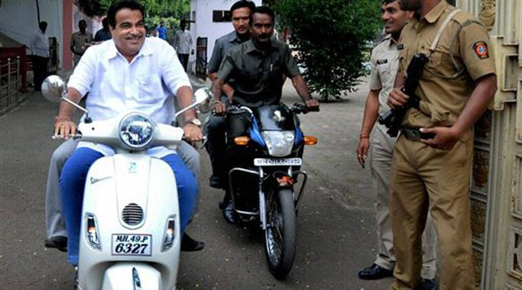Union Minister for Transport and Shipping Nitin Gadkari leaves after meeting RSS Chief Mohan Bhagwat at RSS headquarters in Nagpur, Maharashtra on Saturday.(PTI)