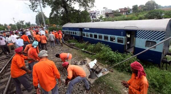 Three coaches of Barauni Express were badly damaged in the collision. (Source: express photo by Vishal Shrivastav)