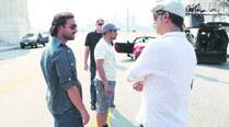 Saif Ali Khan with the team of Happy Ending shooting on the street of  Los Angeles