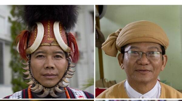 In this combination of nine photos taken in August and September 2014 in Yangon and Naypidaw, from left to right, top, Myat Ko, an ethnic Naga wears a traditional Naga hat, Ye Tun, an ethnic Burman wears a Shan hat. (Source: AP)