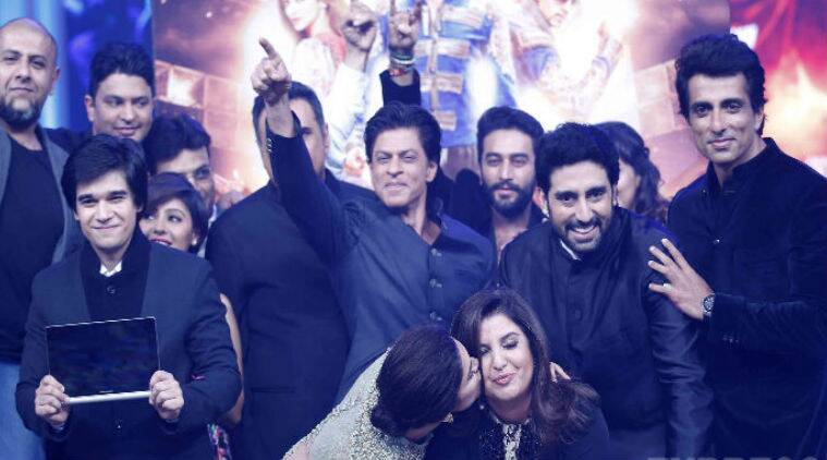 'Happy New Year' Shah Rukh, Deepika, Abhishek launch 'Happy New Year' music with Farah Khan