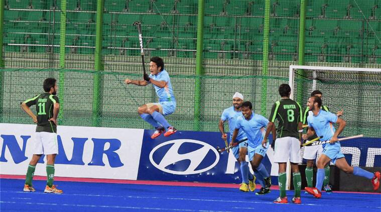 India's Khadangbam Kothajit Singh exults after scoring a goal against Pakistan in final match of men's hockey at the 17th Asian Games in Incheon. (Source: PTI)