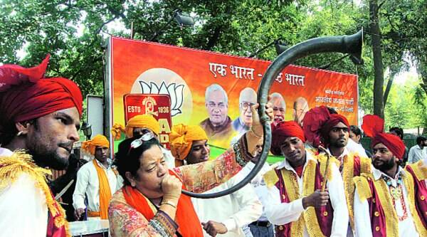 The BJP cadre are keen to keep the momentum. ( Source: Express photo by Neeraj Priyadarshi )