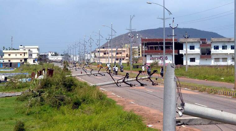 Broken Electric poles after the devastating Hudhud Cyclone hit Vizag on Wednesday.(Source: PTI)