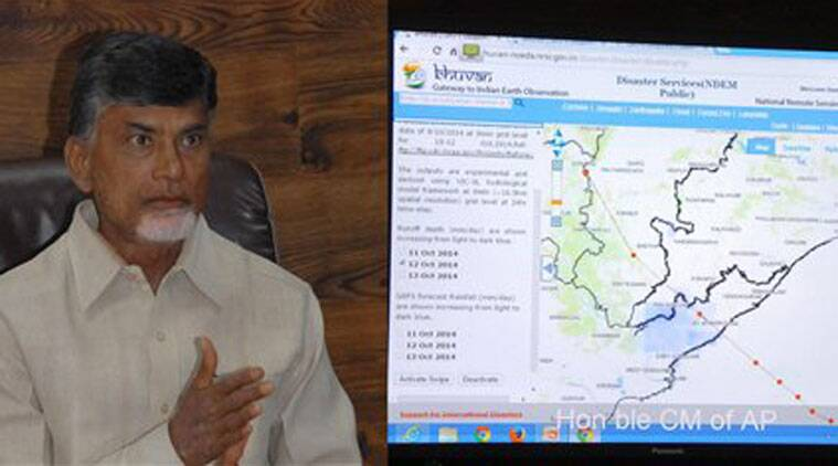 AP Chief Minister N Chandra Babu Naidu reviews the preparedness for Cyclone HudHud, in Hyderabad on Saturday. (Source: PTI)