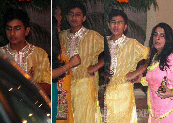 You have seen Saif Ali Khan and Amrita Singh's daughter Sara, here we introduce you to his teenage son Ibrahim, who was spotted at Amitabh Bachchan's Diwali party recently. Ibrahim, who is now 14 years old, was seen with his mother Amrita Singh.  Ibrahim, who is a spitting image of his famous dad, was dressed in a kurta pyjama at the Diwali bash. (Source: Varinder Chawla)