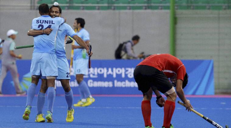 Akashdeep Singh celebrates the winning goal with SV Sunil against South Korea on Tuesday. (Source: PTI)