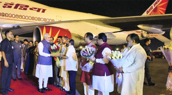 PM Narendra Modi on his arrival in New Delhi on Wednesday night. Source; PTI
