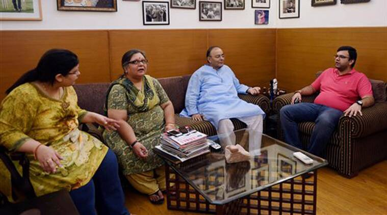 Finance Minister Arun Jaitley along with his family at his new official residence in New Delhi where he went soon after his discharge from the hospital on Monday. (Source: PTI)