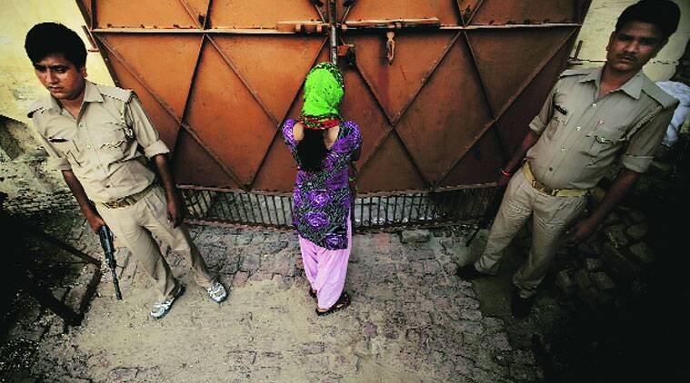 Security at the house of the woman at the centre of the 'love jihad' row in Meerut.