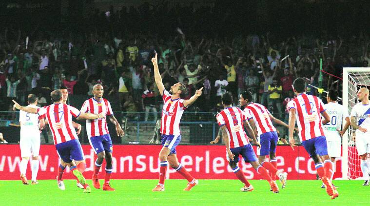 Atletico de Kolkata's Borja Fernandez, formerly of Real Madrid, screamed in the second goal of the game against Mumbai City FC on Sunday. Kolkata won 3-0. (Source: Express photo by Partha Paul)