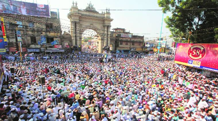 Jamiat Ulama-e-Hind's peace rally at Curzon gate in Burdwan, Monday. (Source: Express photo by Subham Dutta)