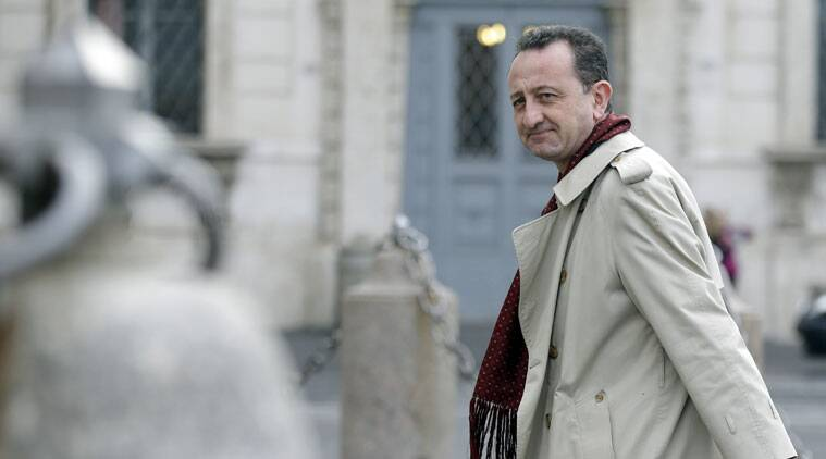 Convicted Mafia boss Toto Riina's lawyer Luca Cianferoni arrives at the Quirinale Presidential palace in Rome, Tuesday, Oct. 28, 2014. (Source: AP)