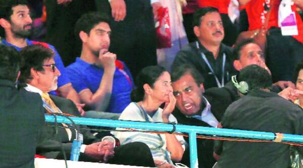 (Above) RIL chairman Mukesh  Ambani speaks to West Bengal CM Mamata Banerjee at the opening ceremony of ISL in Salt Lake Stadium, Kolkata, on Sunday.