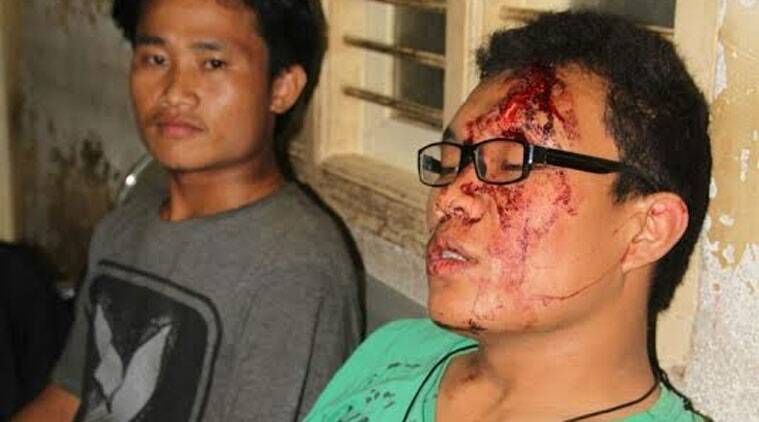 The students were assaulted by locals demanding that they speak in the local Kannada language at a bar on the Hennur Main Road in North-East Bangalore. Source: Express