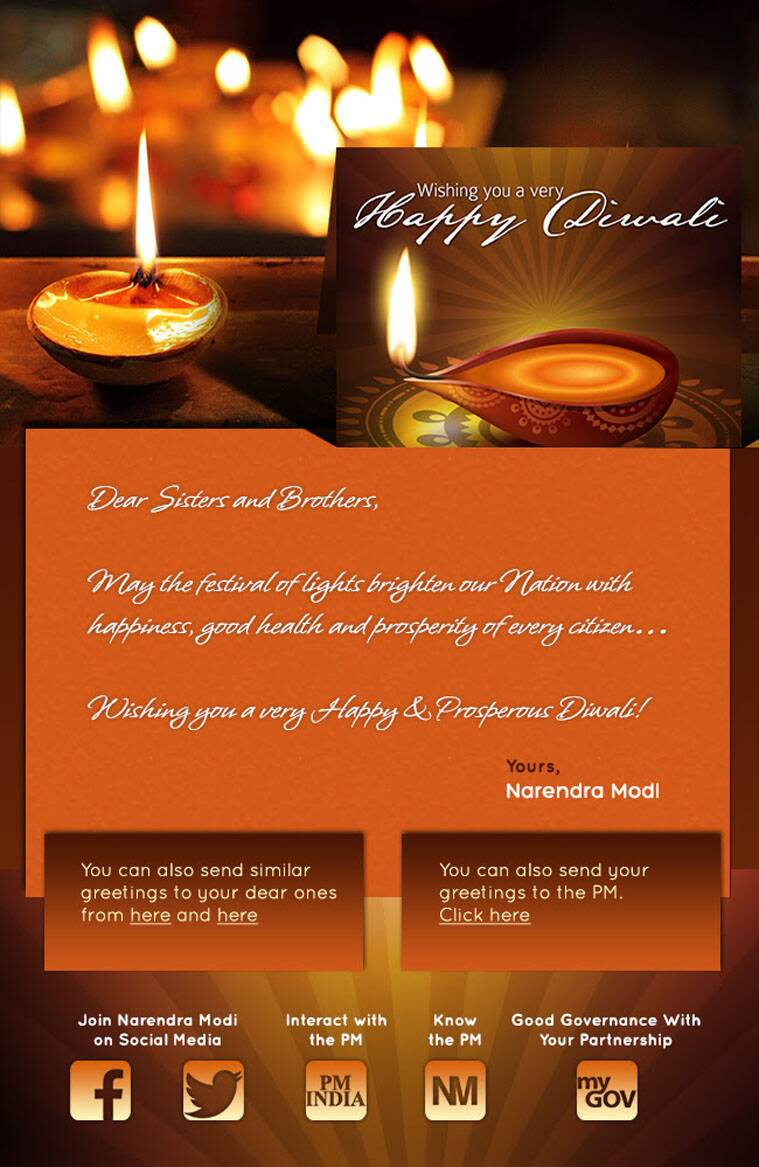 Narendra modi in wishes diwali through mailer obama shoots a video may the festival of lights brighten our nation with happiness good health and prosperity of every citizenwishing you a very happy prosperous diwali m4hsunfo