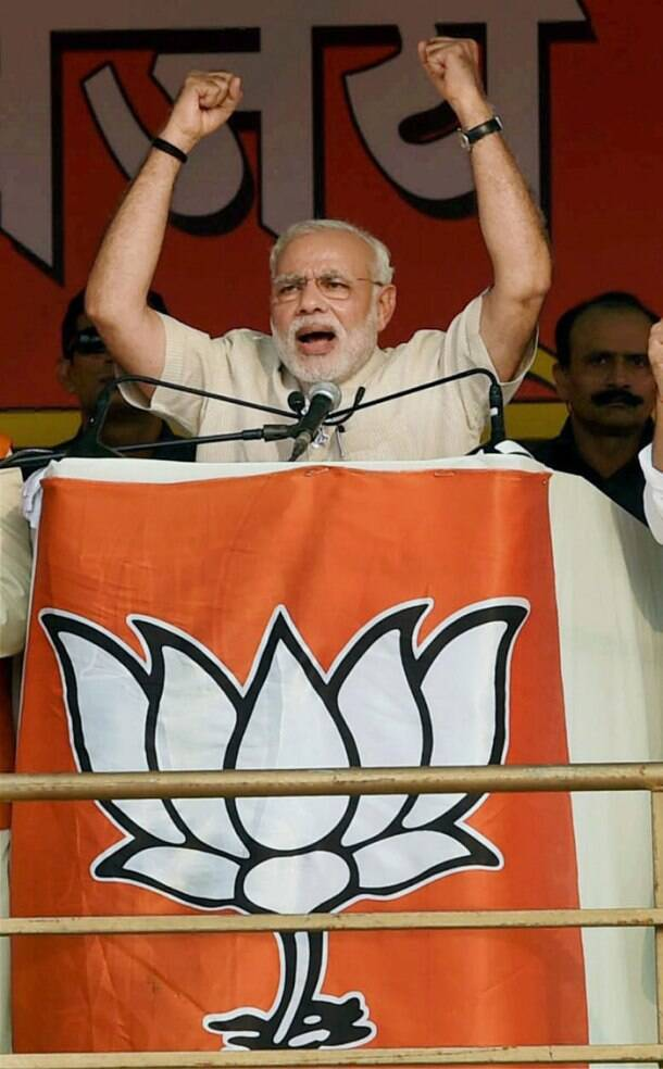Today in pics - Modi addresses rally in Faridabad