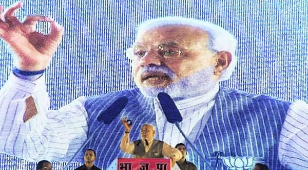 Prime Minister Narendra Modi at a rally in Borivali on Sunday.(Express photo by Dilip Kagda)