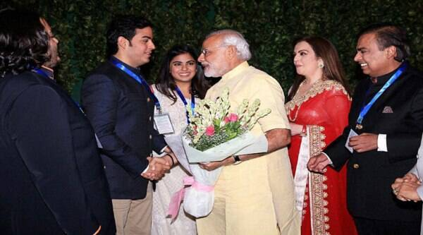 Narendra Modi is welcomed by Nita Ambani, Mukesh Ambani and other memders of Ambani family on his arrival for the inauguration of HN Reliance Foundation Hospital in Mumbai. (Source: PTI)