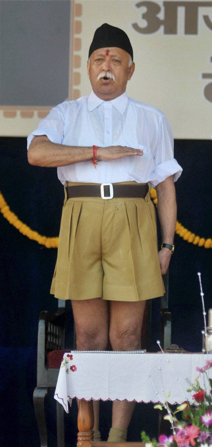 In an address that was telecast live on national broadcaster Doordarshan, RSS chief Mohan Bhagwat patted the Narendra Modi government for initiatives on national security, economy and international relations in a short period of four months. <br /> RSS chief Mohan Bhagwat during Vijay Dashmi function at RSS headquarters in Nagpur on Friday. (Source: PTI)