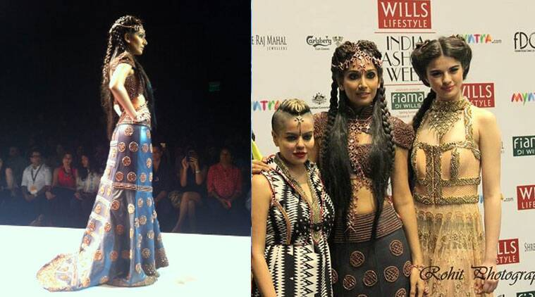Donning a midnight blue-orange embellished gown, hair styled in a long braid teamed with an ornate headgear, the 31-year-old 'Dhobi Ghat' actress looked every bit like a warrior princess as she glided down the runway amidst loud cheers.  (Source: Twitter)