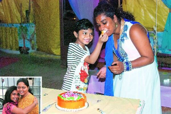 Monisha celebrating her birthday in Goa in 2014; with social worker Anjali Pawar in 2009 after her first meeting with her mother (inset)