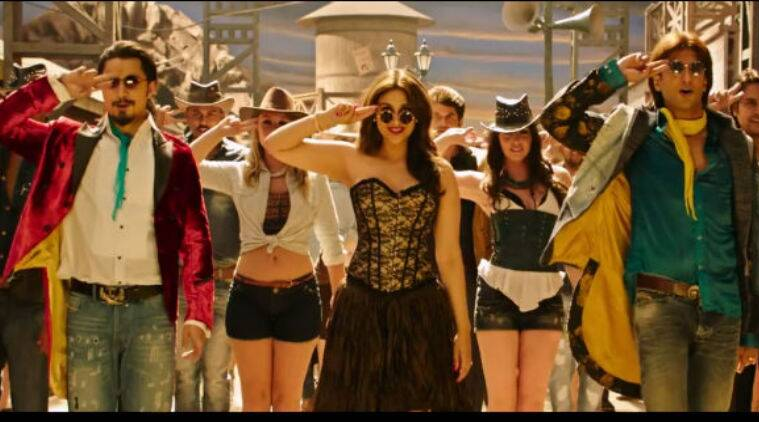 The video features the lead actors – Ranveer Singh, Parineeti Chopra and Ali Zafar dressed in cowboy gear as they dance to the music.