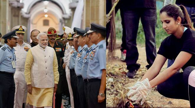 Narendra Modi meets Defence Chiefs; Sania Mirza joins Swach Bharat campaign