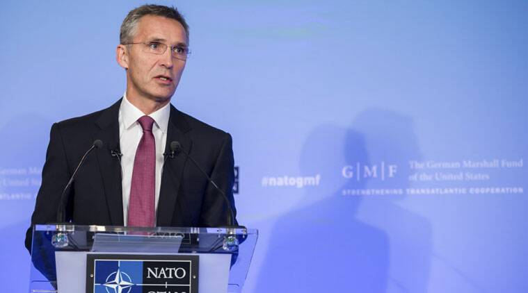 "NATO Secretary General Jens Stoltenberg gives a policy speech entitled ""A unique Alliance with a clear course"" at an event hosted by the German Marshall Fund of the United States, in Brussels on Tuesday, Oct. 28, 2014. (Source: AP)"