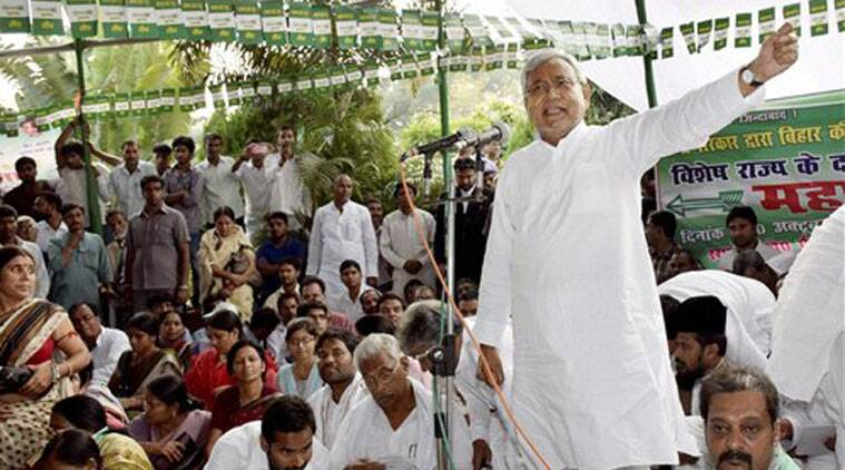 JD(U) senior leader Nitish Kumar addresses a protest dharna for special status to Bihar, in Patna on Monday. (Source: PTI)