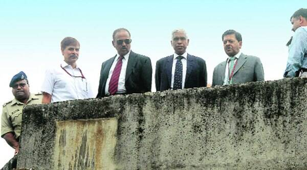 NSA Ajit Doval (third from left) with senior officials at the Khagragarh house, where the blast occurred, in Burdwan on Monday. (Express)