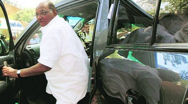 Sharad Pawar arrives for an NCP meeting after the results were declared. (Source: Express photo)