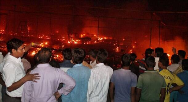 Massive fire in Faridabad cracker market, 230 shops gutted