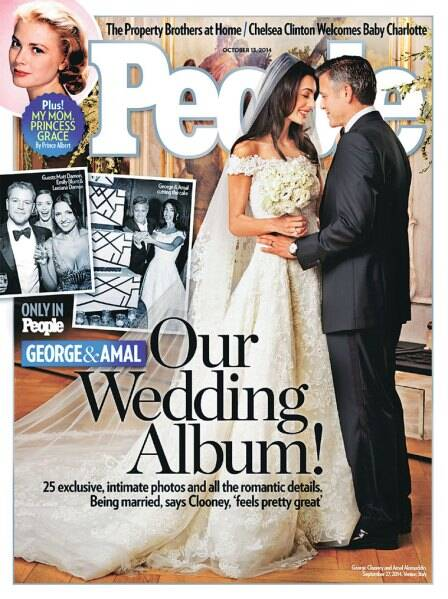 People magazine cover of George Clooney and Amal Alamuddin's wedding, in which she wore a de la Renta gown