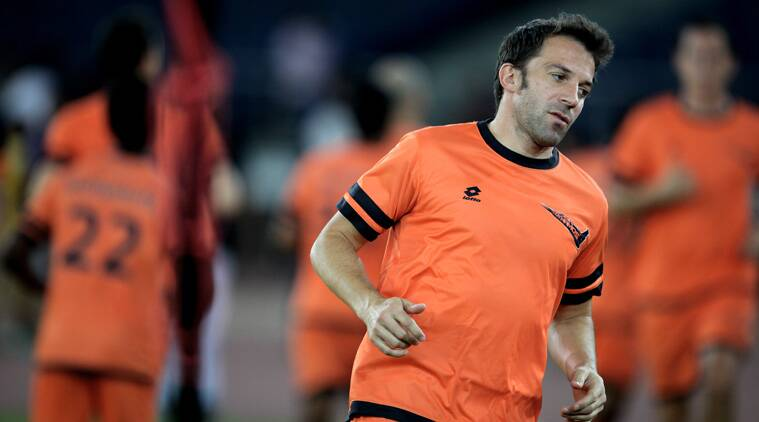 Alessandro Del Piero is geared up for their first match against FC Pune City. (Express Photo by Ravi Kannojia)