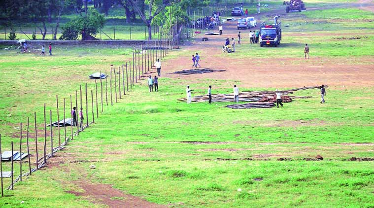 Preparations are on at the HA ground in Pimpri where Narendra Modi will hold a rally on Oct 9.
